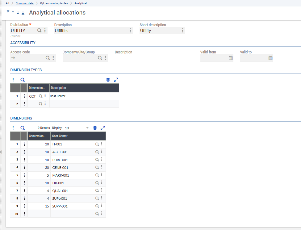 Analytical Allocation in Sage X3