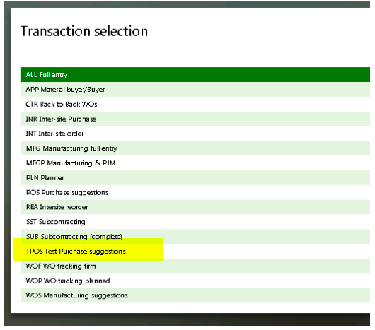 Purchase Order Suggestions in Sage X3