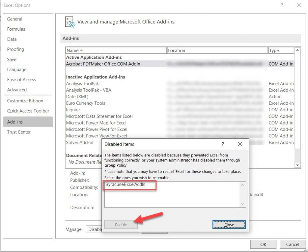 Fix Missing Sage X3 Add-Ins in MS Office