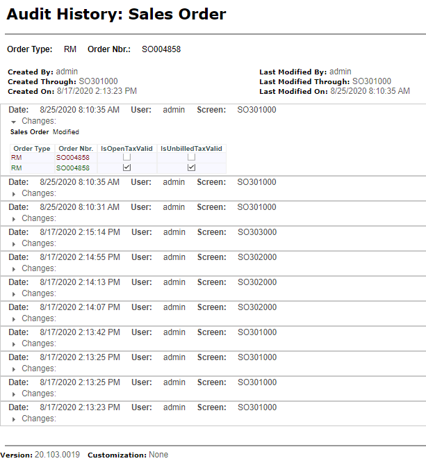 Audit History Within Acumatica