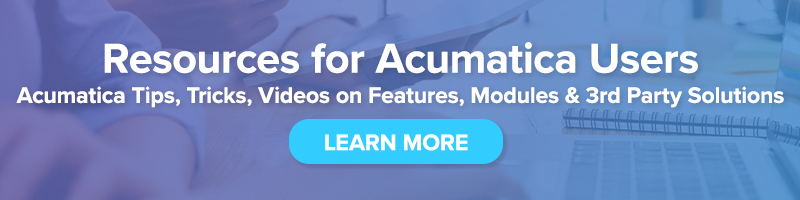 Acumatica Tips and Tricks