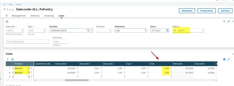 Adding Fees or Surcharges in Sage X3