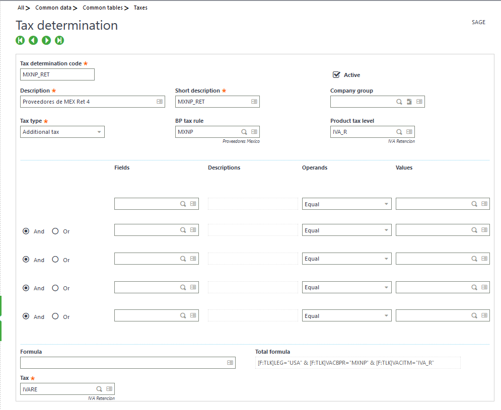 manage tax in sage x3
